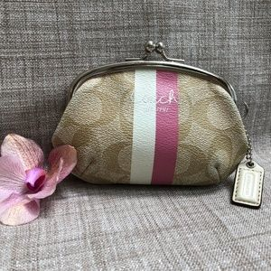 Coach Heritage Stripe Coin Purse PVC, #60592 - EUC